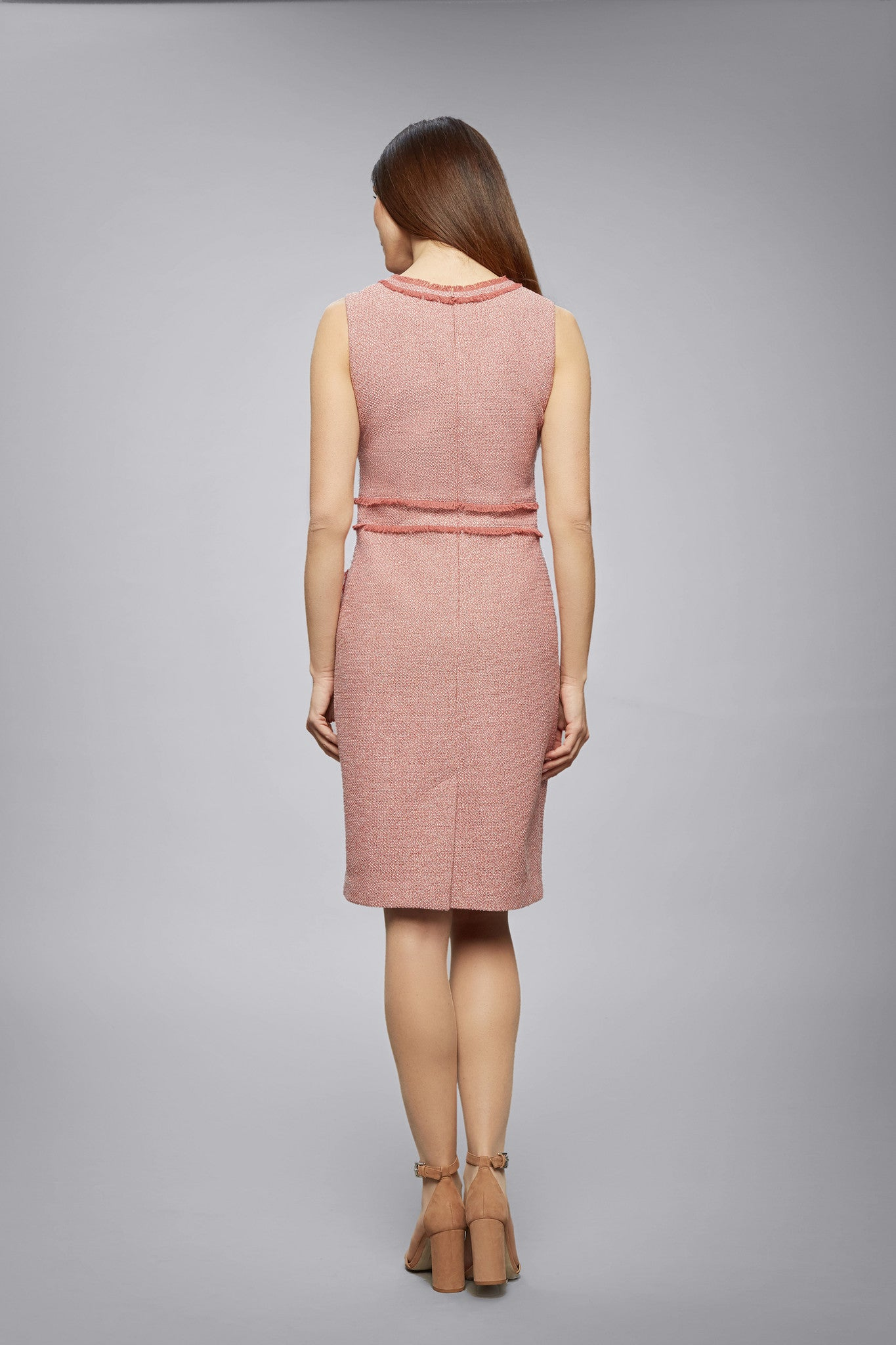 Soft pink cotton tweed dress with fringed detail