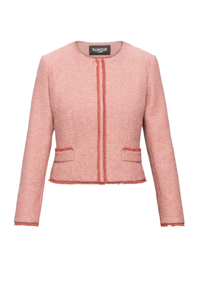 Soft Pink Tweed Jacket With Fringing Detail