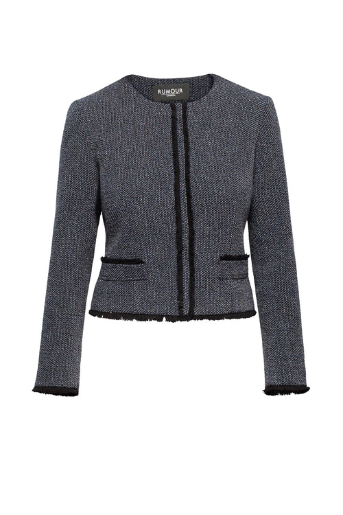 Navy and Cream Tweed Jacket With Fringing Detail
