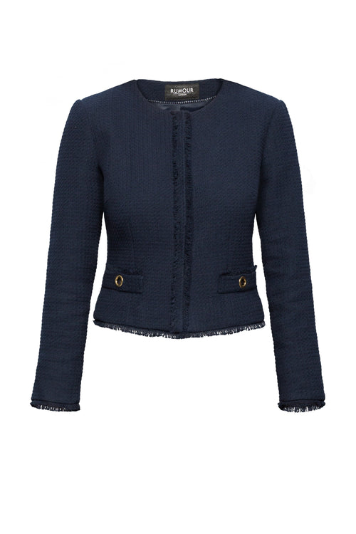Navy Tweed Jacket With Fringing Detail