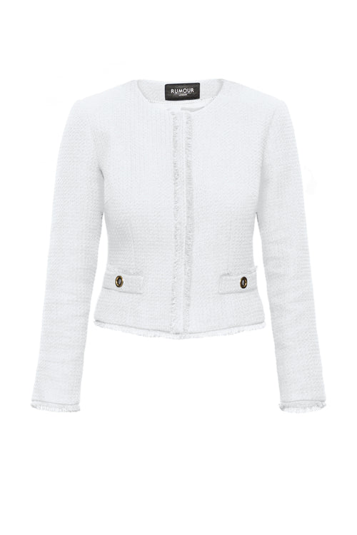 Cream Tweed Jacket With Fringing Detail