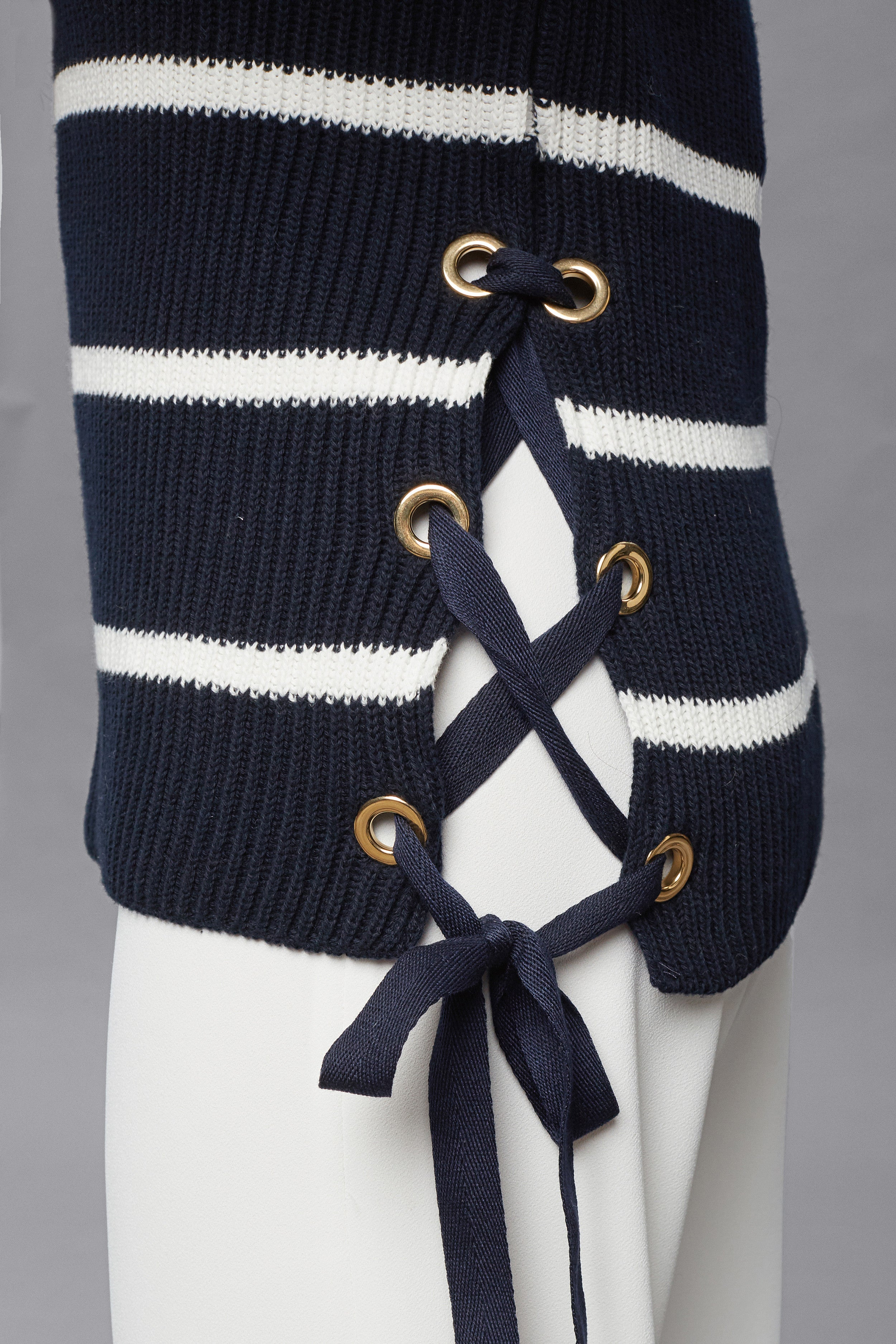 Striped Cotton Sweater With Metal Eyelets In Midnight Blue
