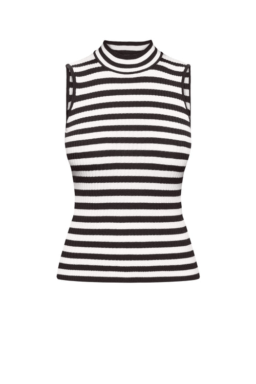 Black Striped Sleeveless Top