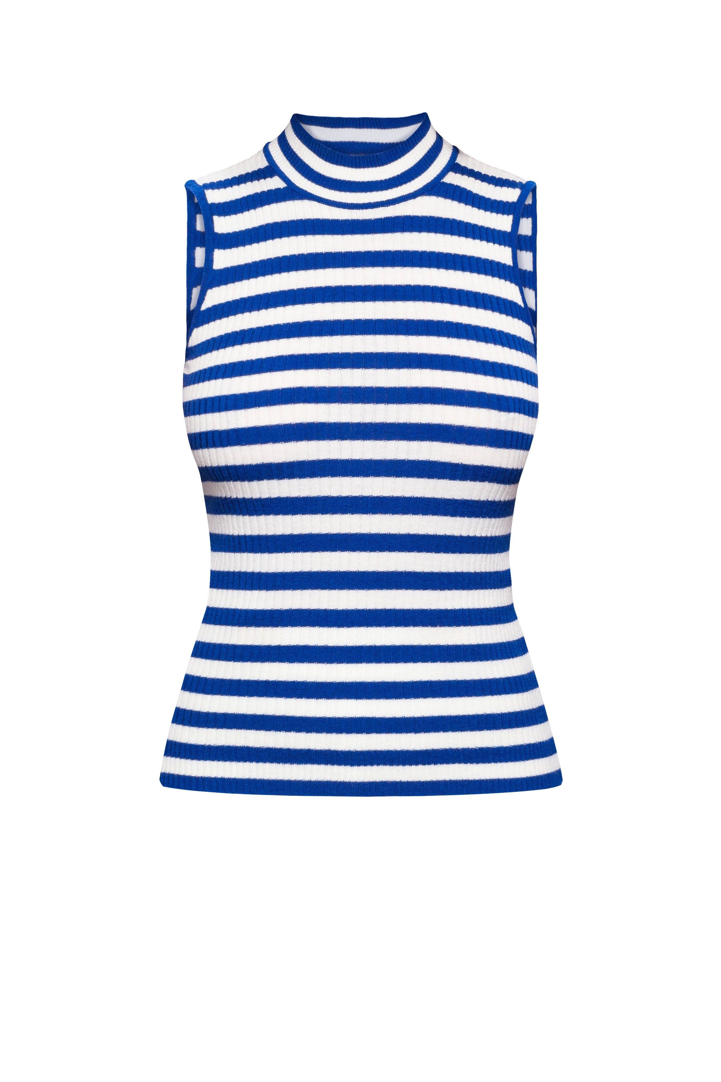 Blue Striped Sleeveless Top