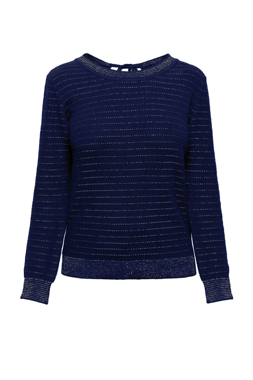 Tie-Back Cotton And Modal Jumper With Metallic Stripe