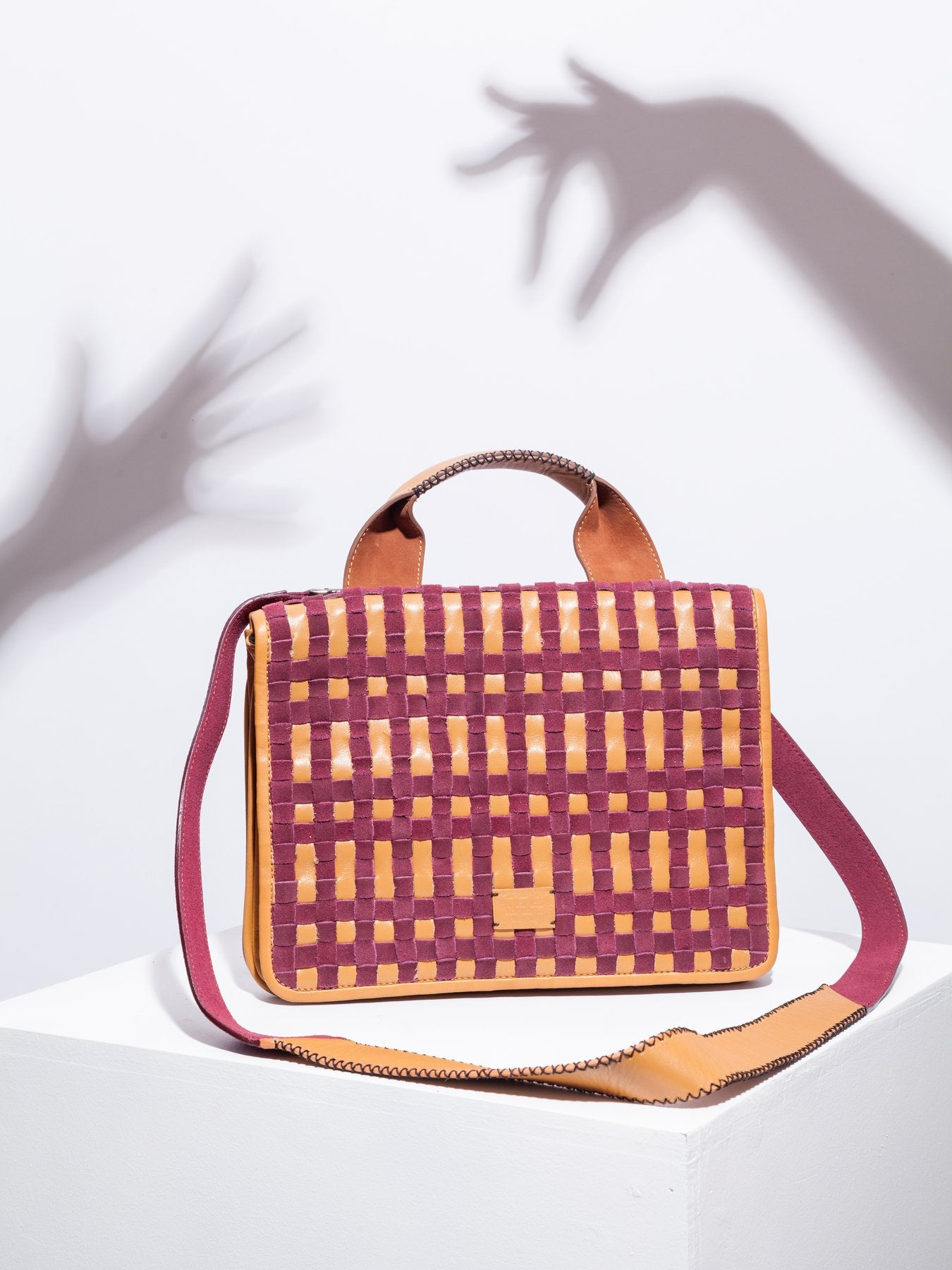 Chequer Tan and Burgundy Bag