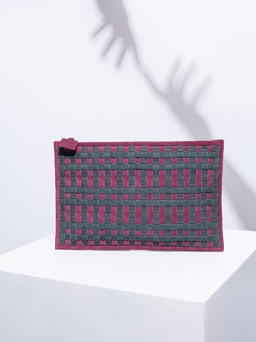 Peacock and burgundy clutch