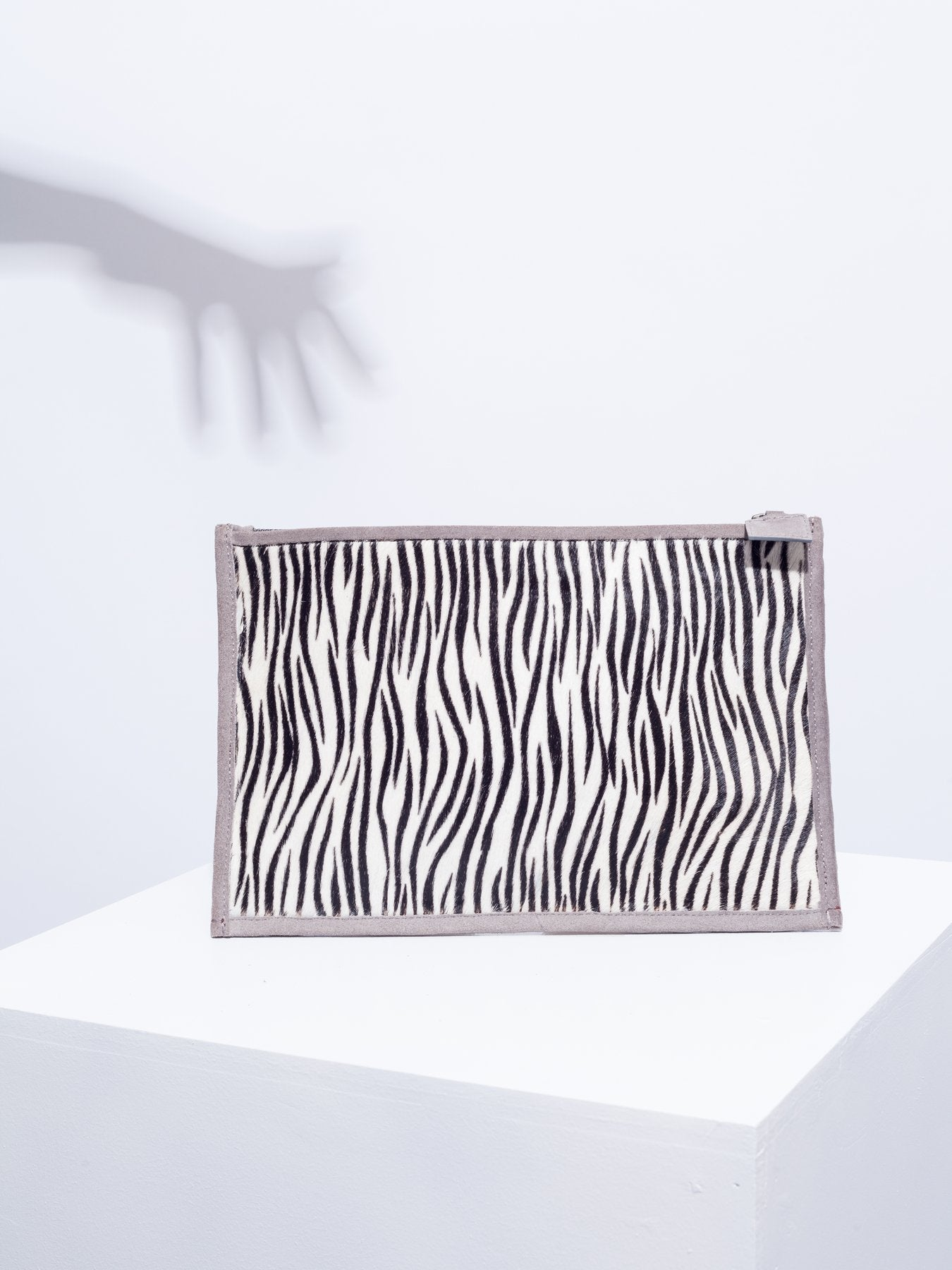Red mirror leather and zebra clutch