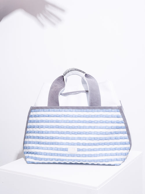White and sky blue suede weave tote
