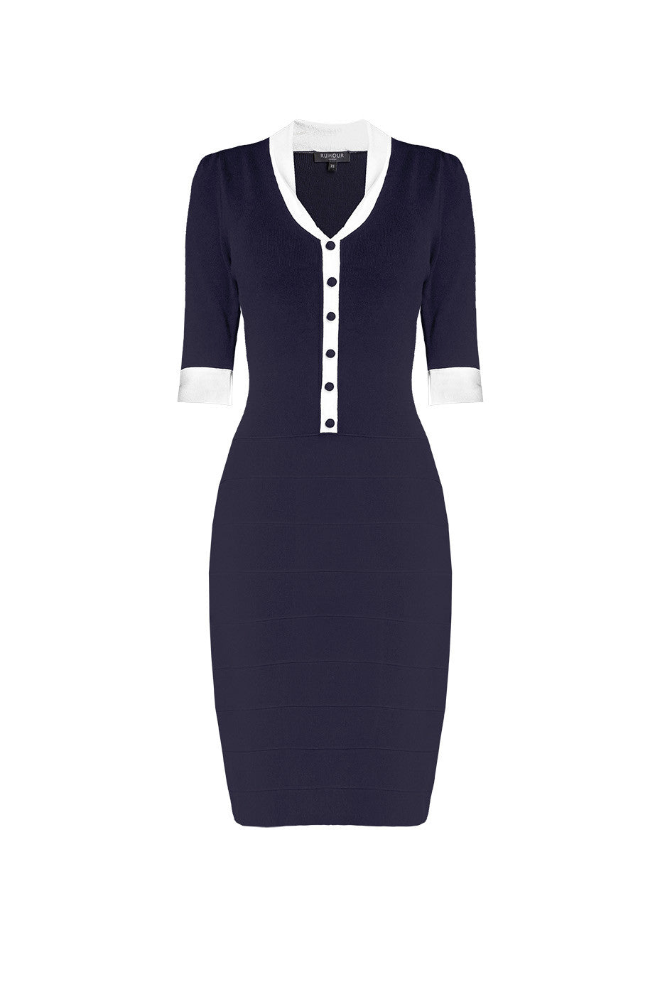 Navy knitted bodycon dress
