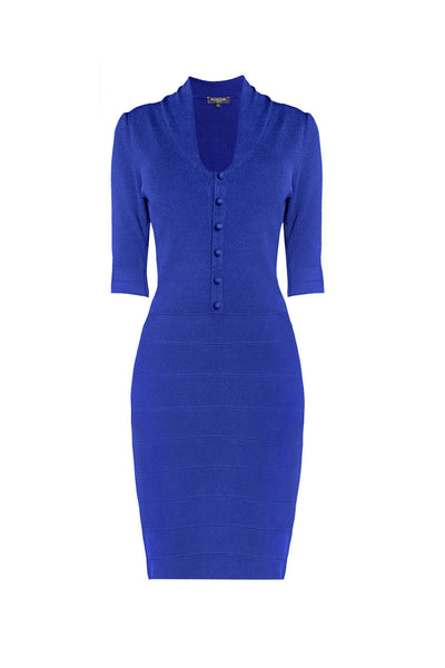 Azure blue knitted bodycon dress