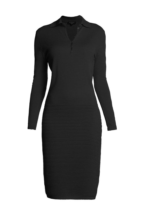 Black soft merino wool-blend knitted dress