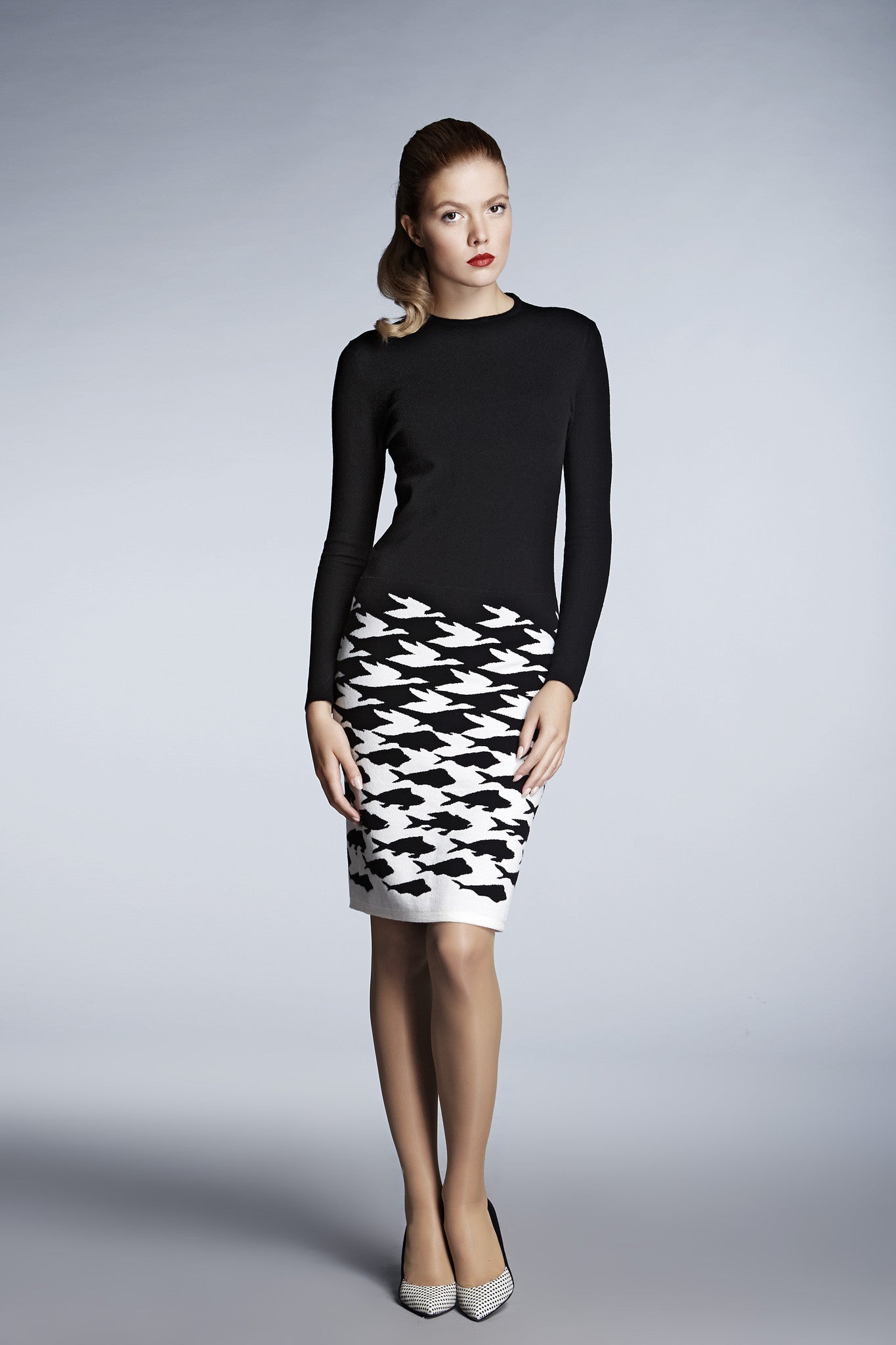 Black illusion-houndstooth knitted jacquard dress