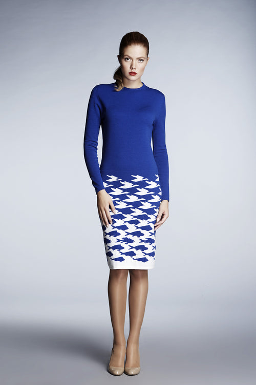 Azure blue illusion houndstooth knitted jacquard dress