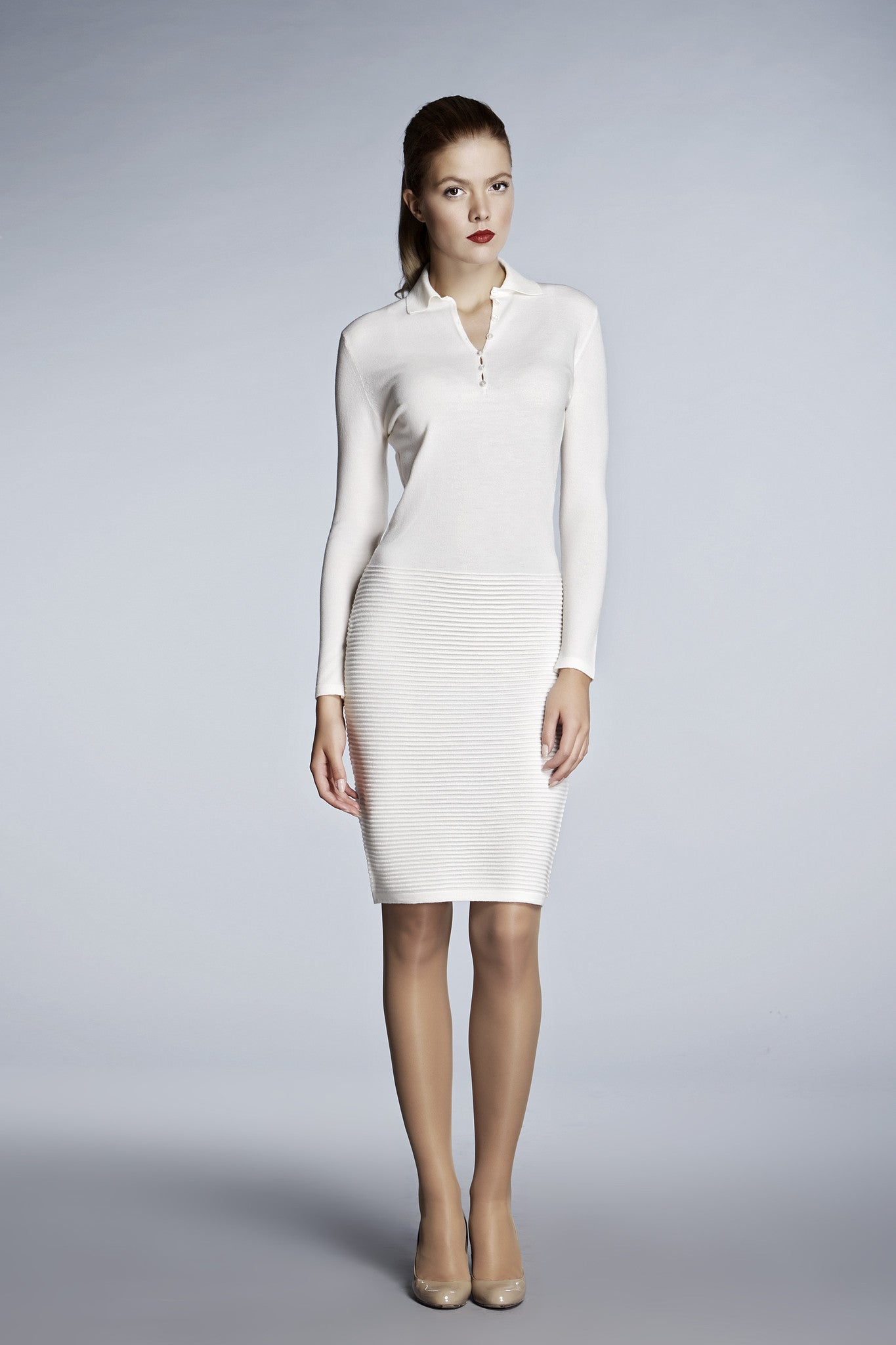 f167af178c3 Ivory soft merino wool-blend knitted dress – RUMOUR LONDON