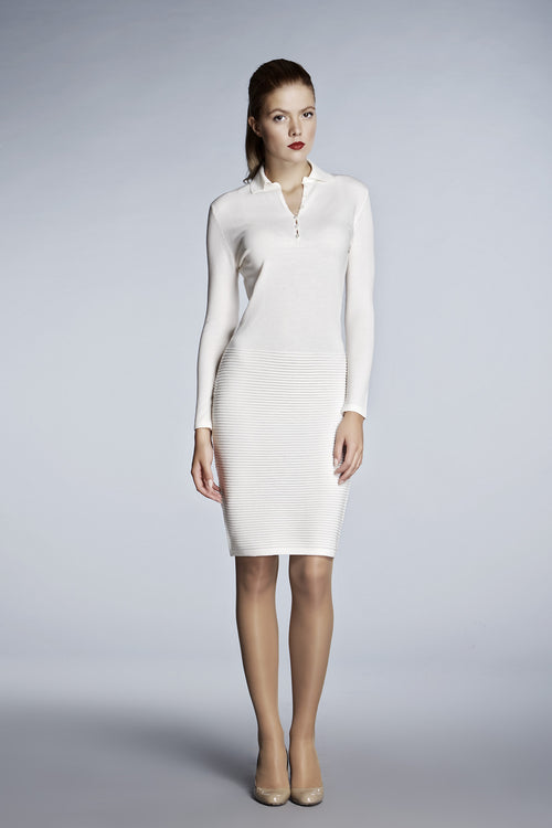 Ivory soft merino wool-blend knitted dress
