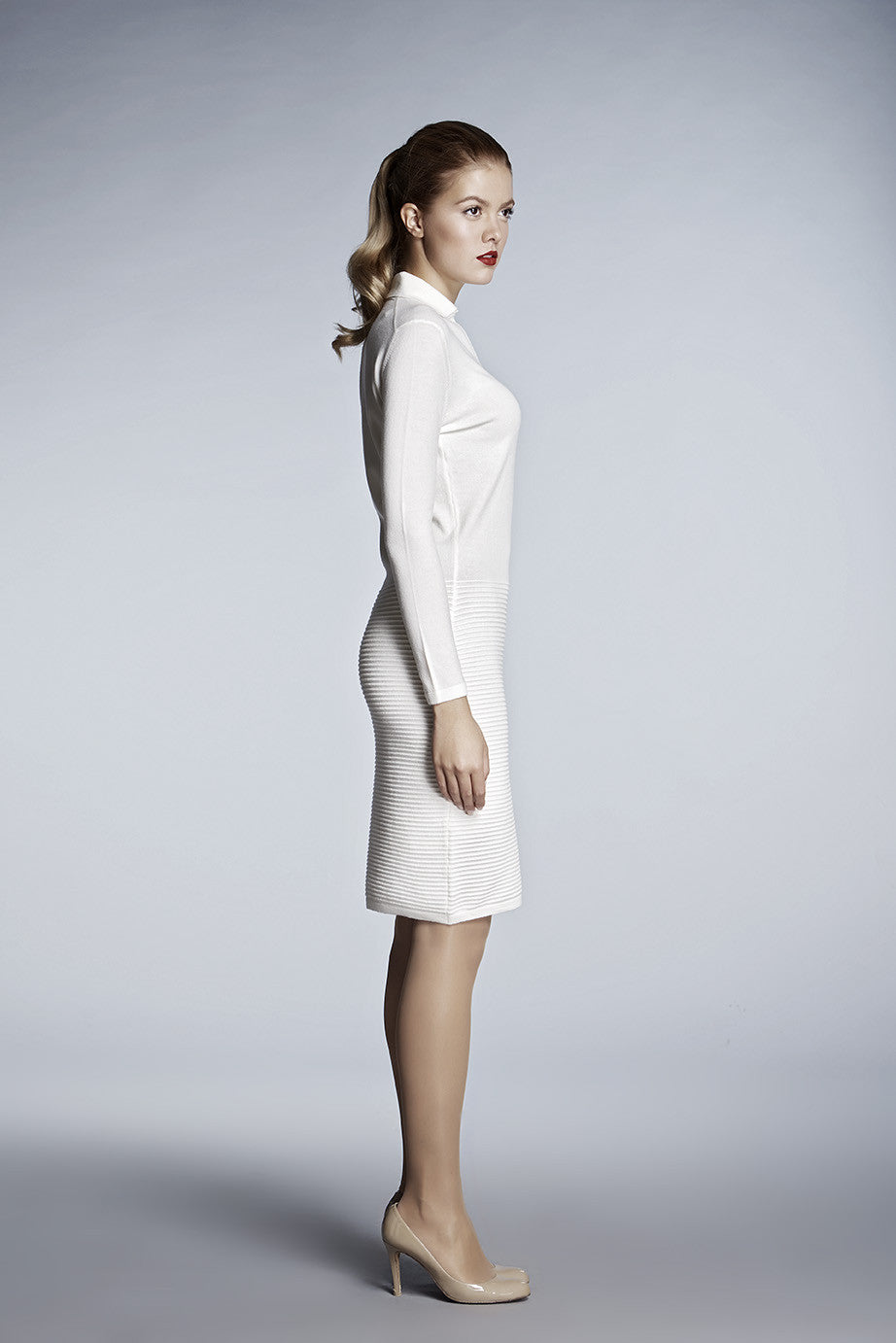 a1cad35f819b6 Ivory soft merino wool-blend knitted dress – RUMOUR LONDON