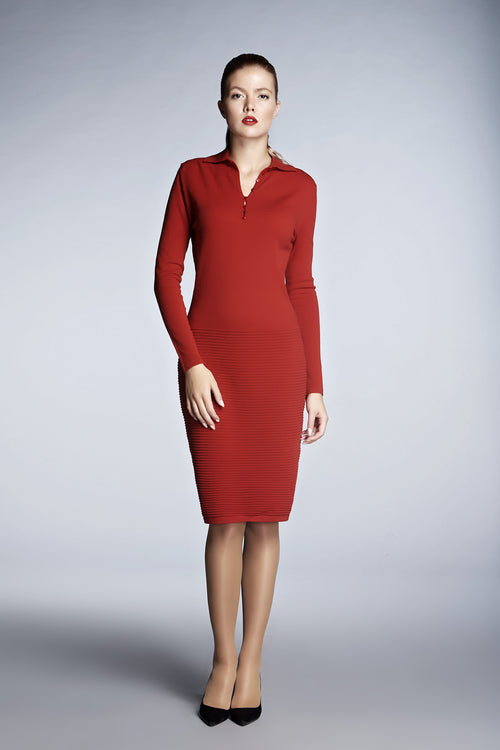 Red soft merino wool-blend dress