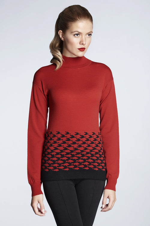 Red merino wool-blend turtle neck sweater