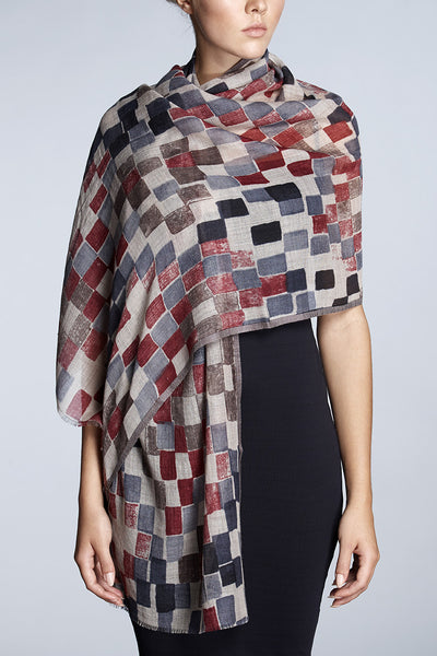 Check-print wool and silk blend scarf