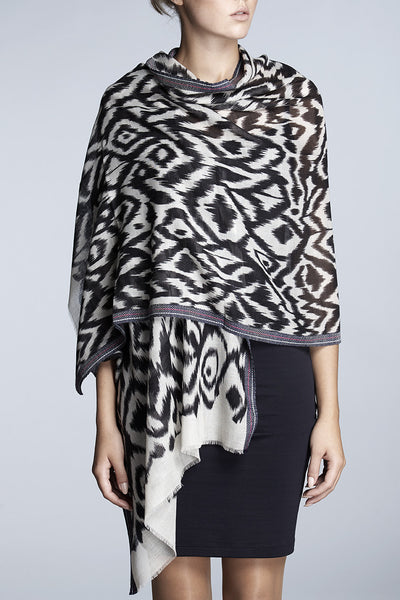 Printed fine wool and silk-blend scarf