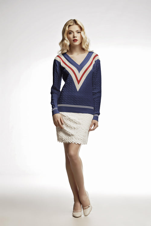 Blue cashmere and cotton blend jumper