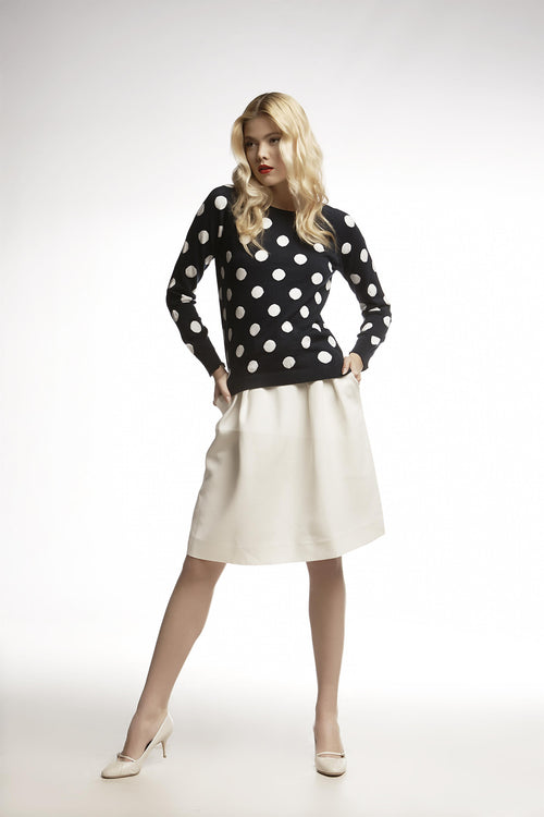 Long sleeve intarsia-polka dot knitted jumper