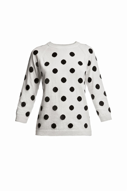 Polka dot-intarsia knitted jumper