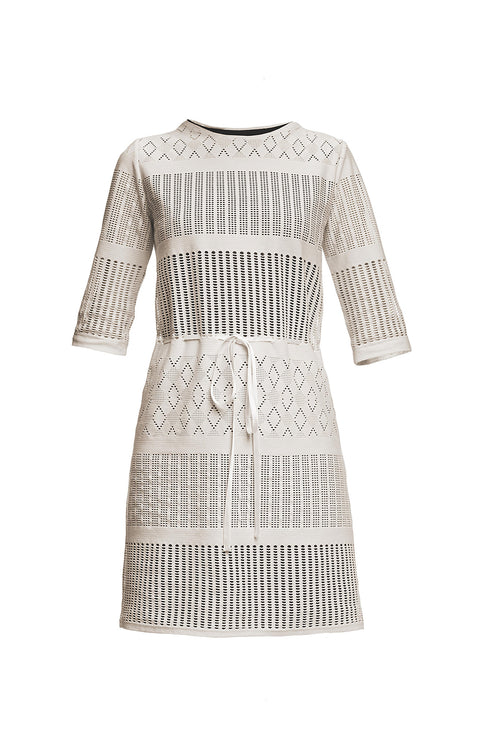 Panel Lace Overlay Dress with Sheer Sleeves