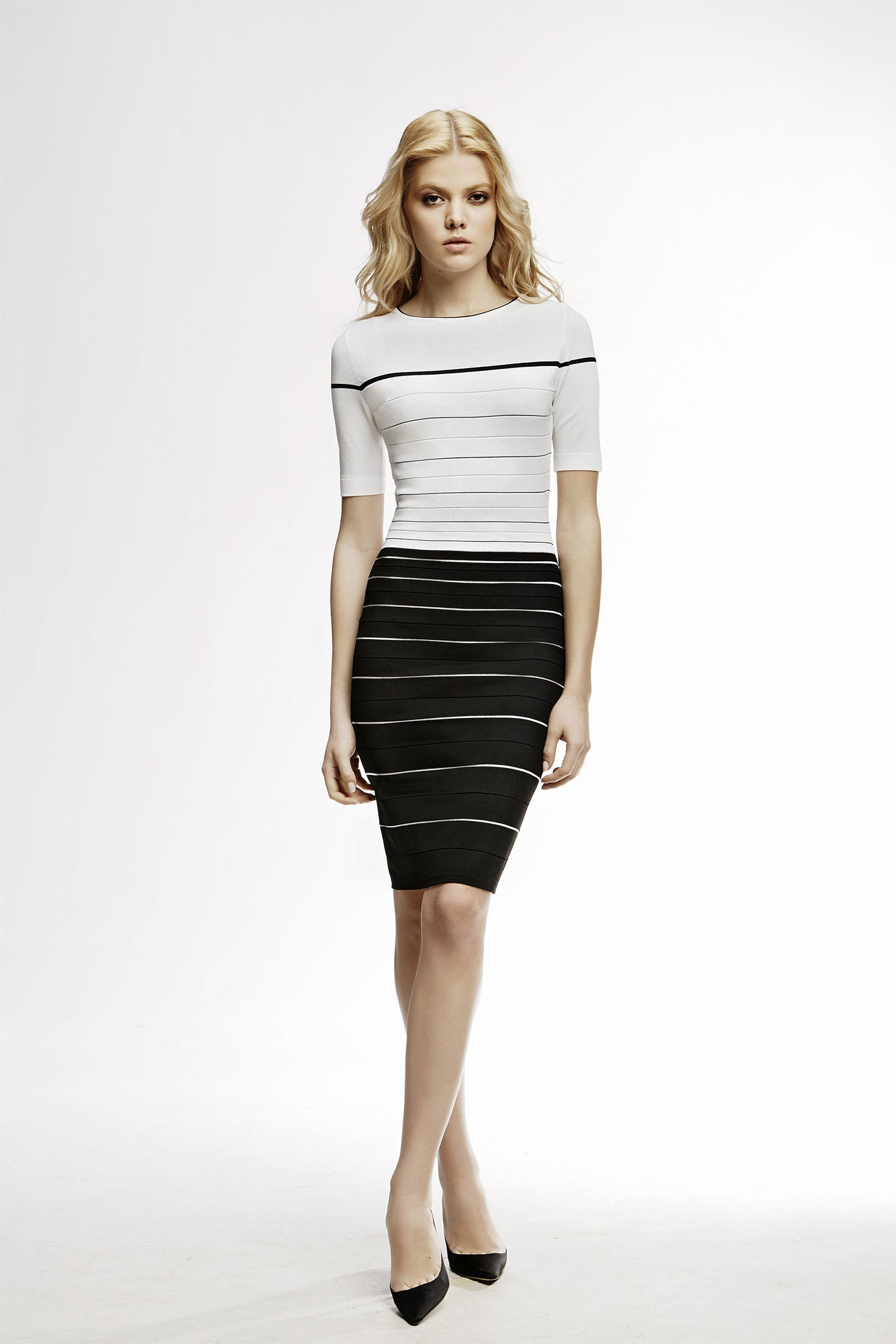 Striped Monochrome Bodycon Dress