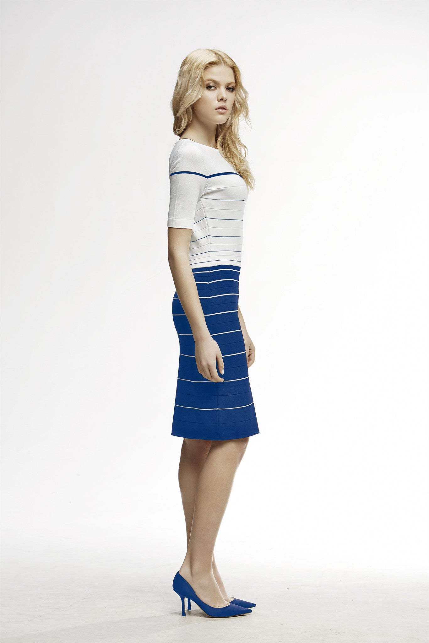 Striped Bodycon Dress in Blue and Cream