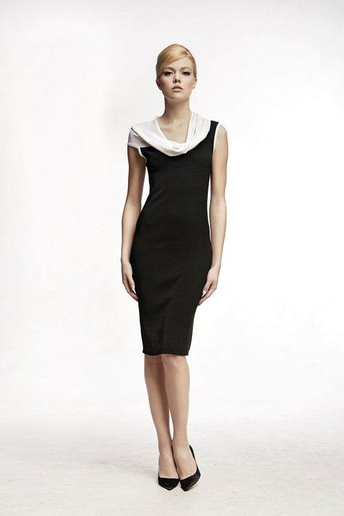 Asymmetric neckline knitted dress