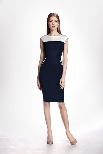 Navy and Cream Ribbed Viscose Pencil Dress