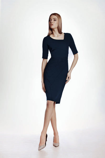 Dark Cyan Fitted Knee Length Dress with Asymmetrical Neckline