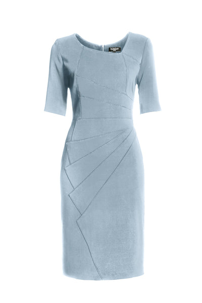Powder Blue Fitted Knee Length Dress with Asymmetrical Neckline