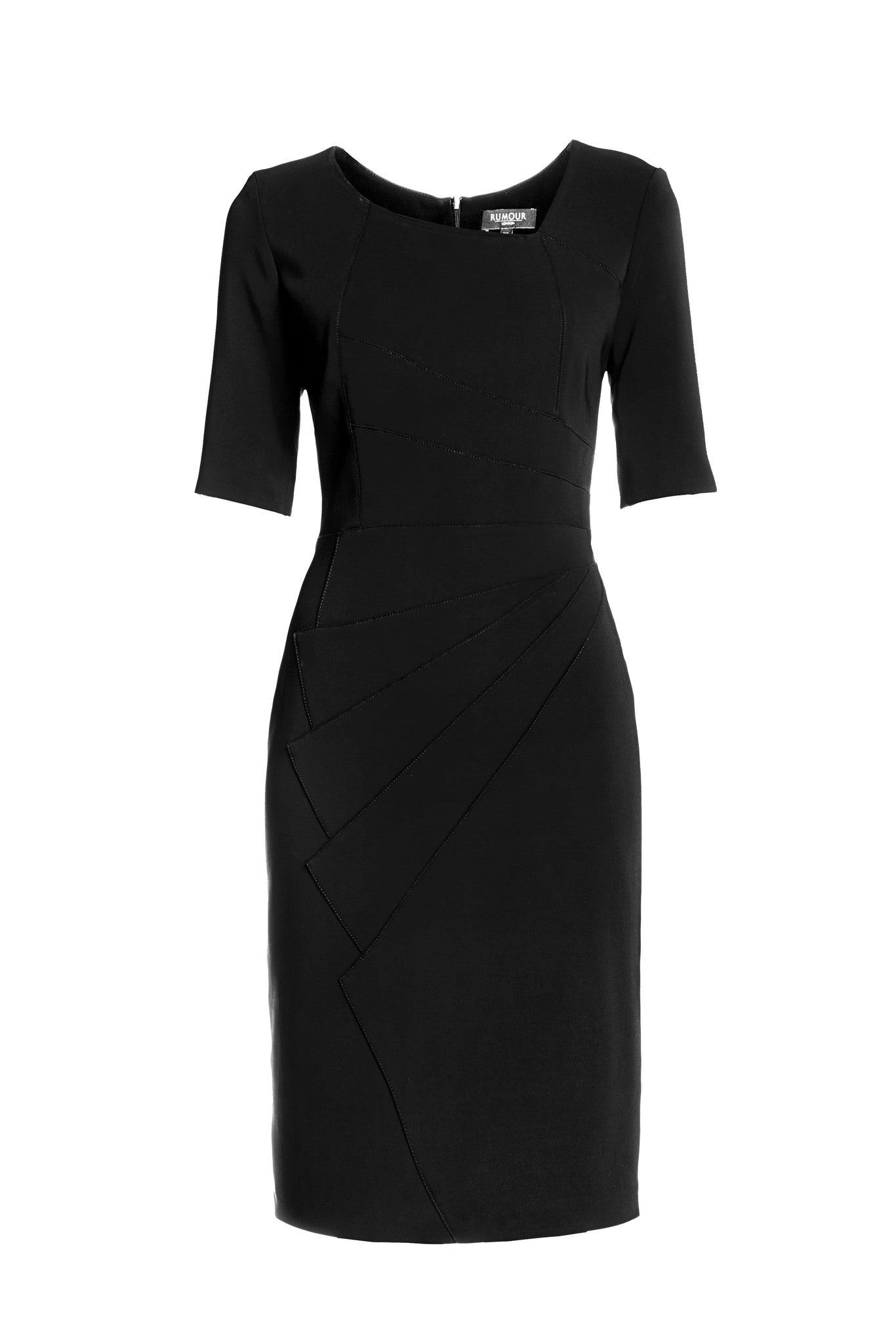 Black Fitted Knee Length Dress with Asymmetrical Neckline