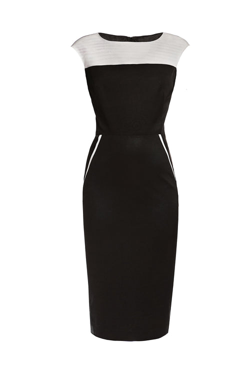 Black and Cream Ribbed Viscose Pencil Dress