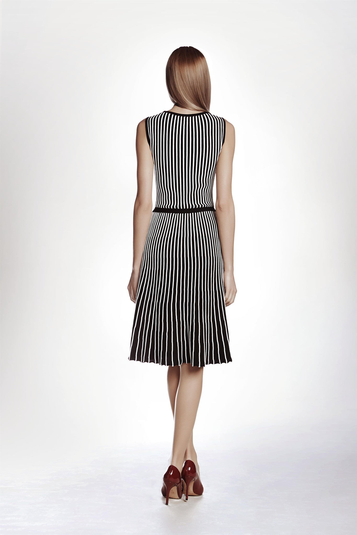 Striped Fit-And-Flare Knitted Dress