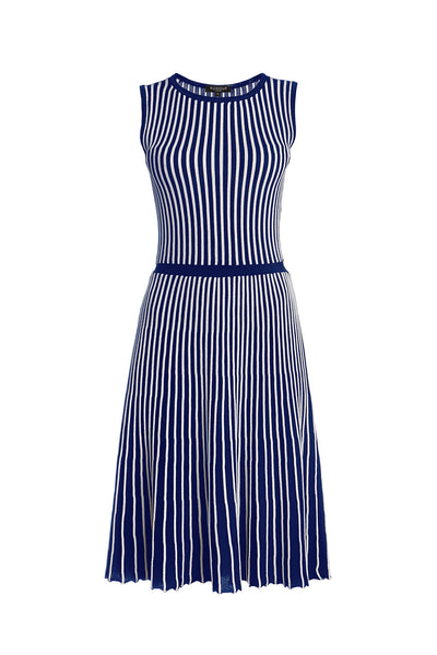 Striped Fit-And-Flare Knitted Dress in Blue