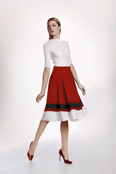Red Silk Flared Skirt