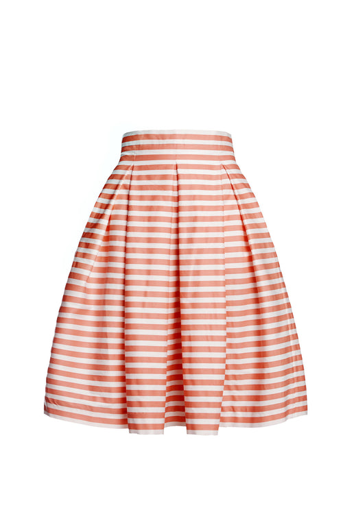 Coral Striped Midi Skirt