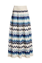 Wavy-striped maxi skirt