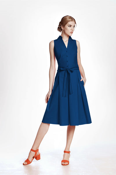 Navy Satin Cotton Belted Flared Dress