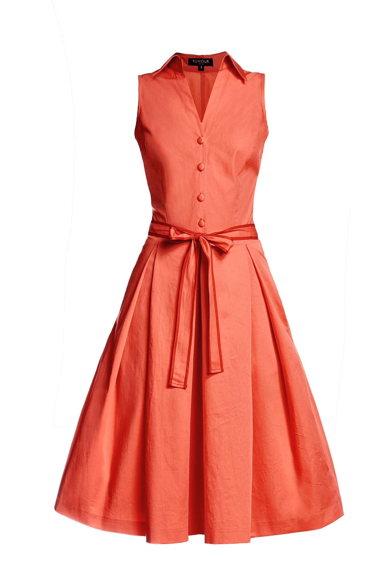 Satin Cotton Belted Flared Dress