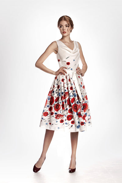 Poppy-Print Georgette Flared Dress