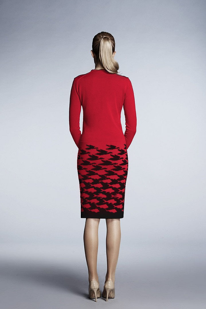 Red illusion houndstooth knitted jacquard dress