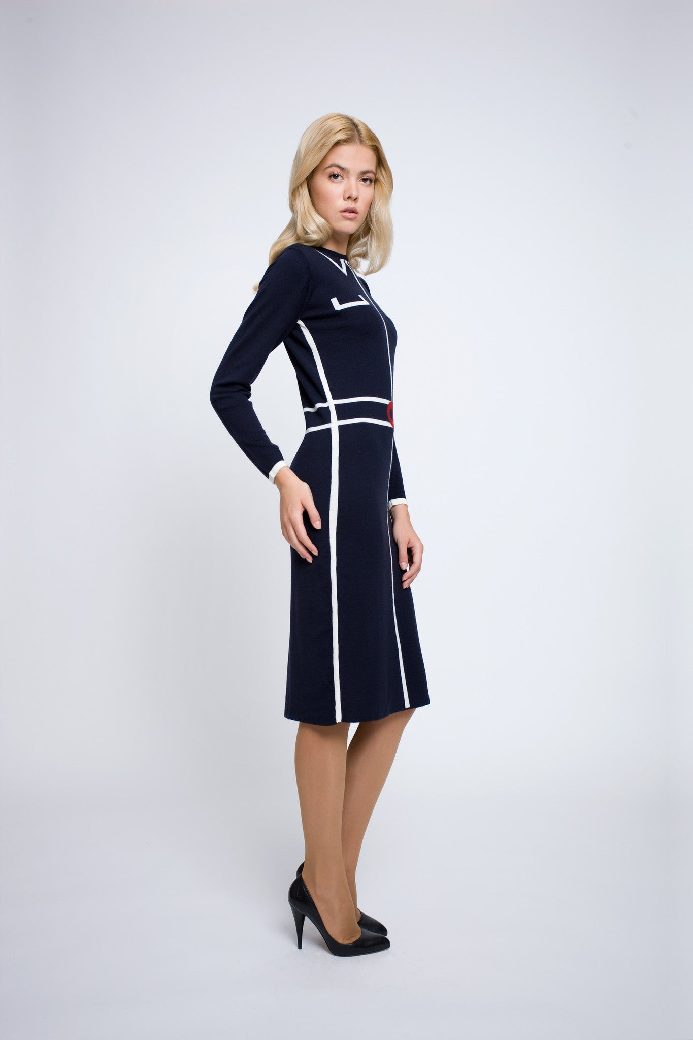 Knitted jacquard dress in Midnight blue