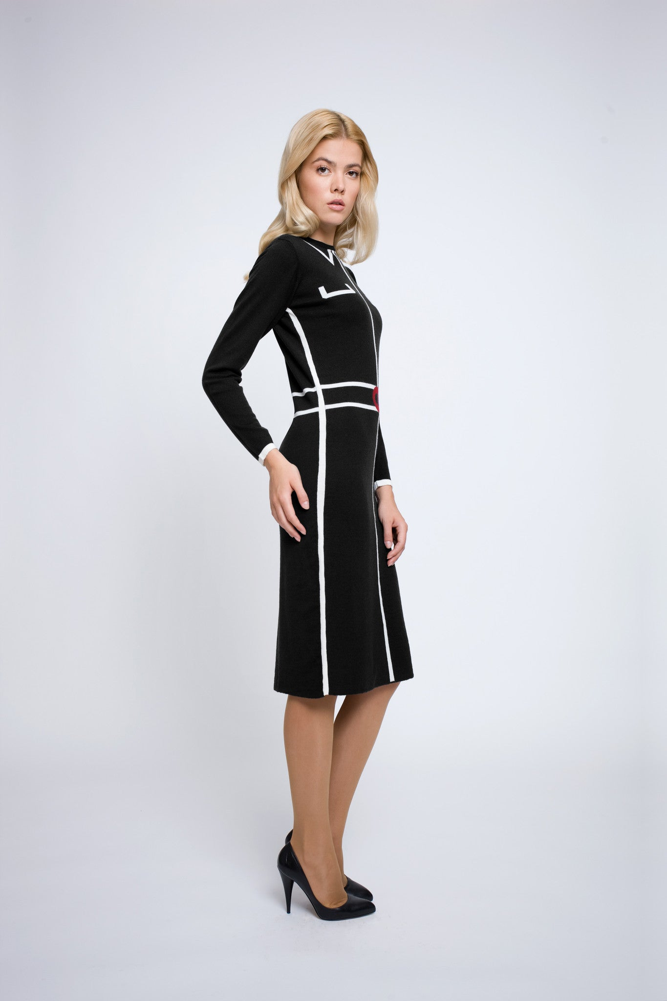 Knitted Jacquard Dress in Black