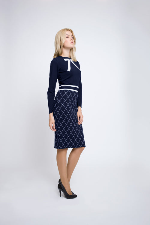 Bow jacquard knitted dress in midnight blue