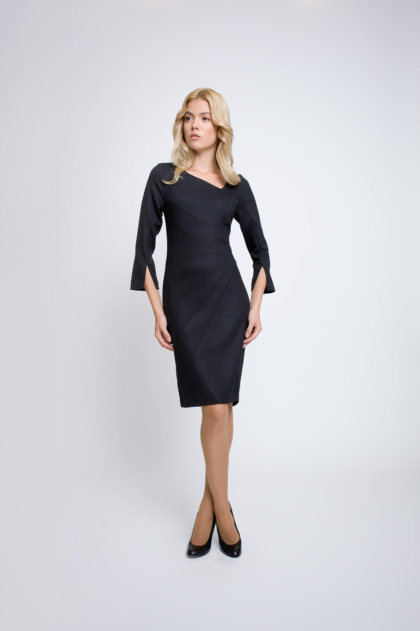 Tailored dress with asymmetric neckline